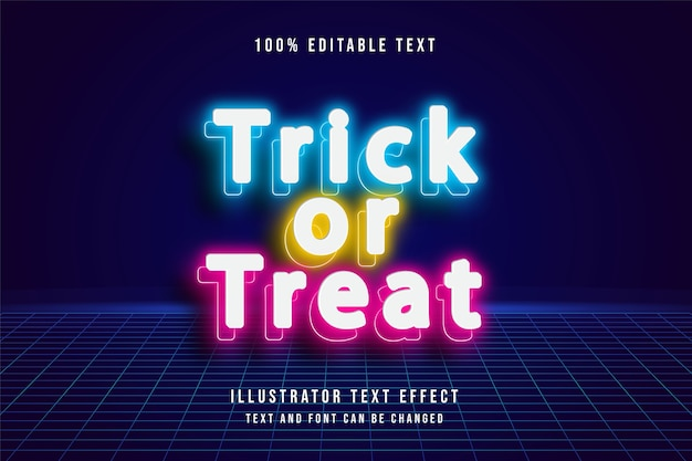 Trick or treat, 3d editable text effect. neon style