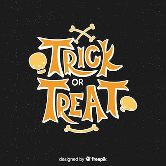 Trick or treat on a black background