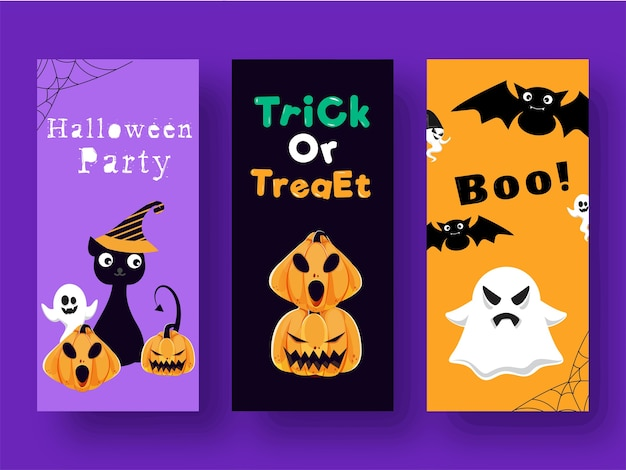 Trick or treat and boo! template or flyer design in three color options
