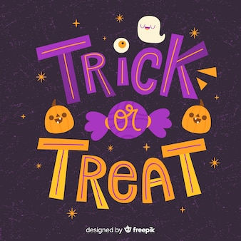 Trick or treat calligraphy pumpkin and candy