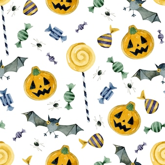 Trick or treat candies cookies and bats seamless pattern wallpaper