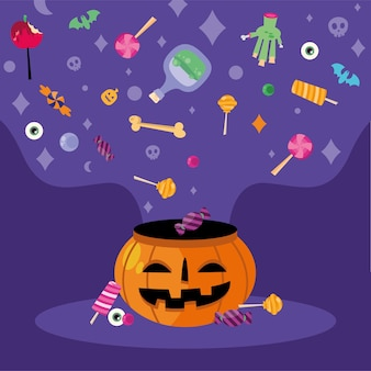 Trick or treat candies over pumpkin design, halloween scary theme