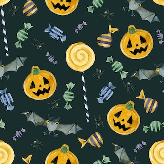 Trick or treat candies pumpkincookies and bats seamless pattern wallpaper