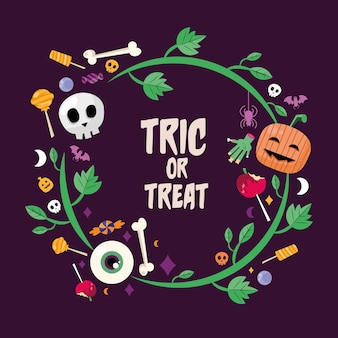 Trick or treat candies with leaves circle design, halloween scary theme