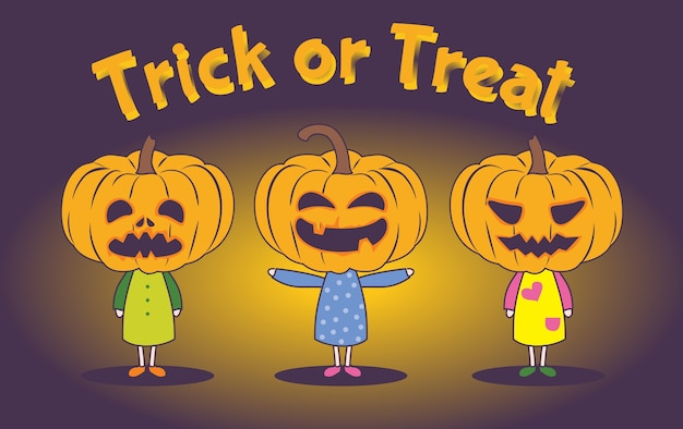 Trick or treat card or banner, halloween kids costume party.