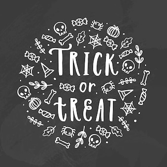 Trick or treat. chalk illustration. vector hand drawn lettering and doodles