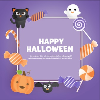Trick or treat concept with copy space.