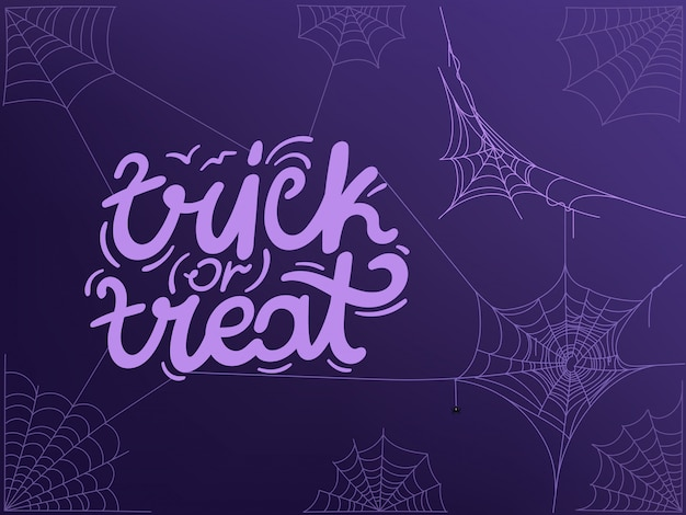 Trick or treat concept with logo and spider web