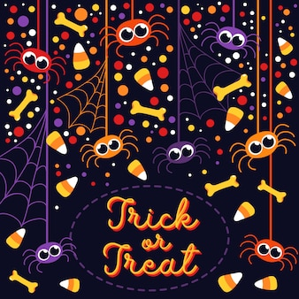 Trick or treat cute spiders and bones halloween greeting card