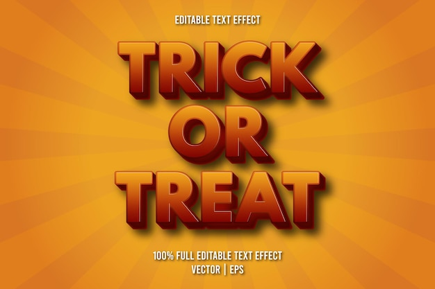 Trick or treat editable text effect comic style