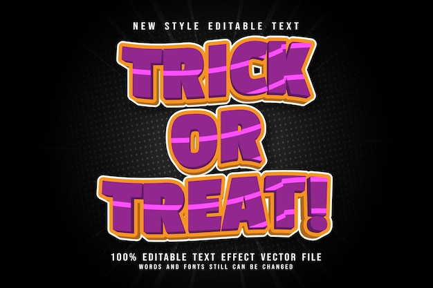 Trick or treat editable text effect emboss modern style