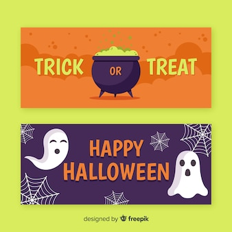 Trick or treat flat halloween banners