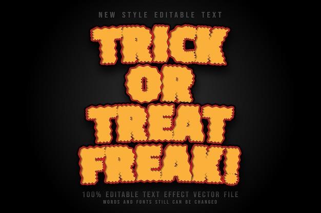 Trick or treat freak editable text effect emboss comic style