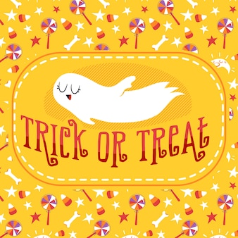 Trick or treat ghost halloween greeting card