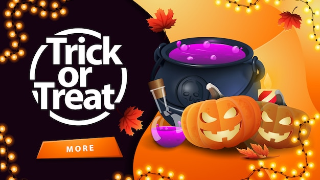 Trick or treat, greeting orange card with button, witch's cauldron and pumpkin jack