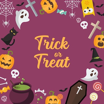 Trick or treat halloween background. halloween party greeting card.   illustration