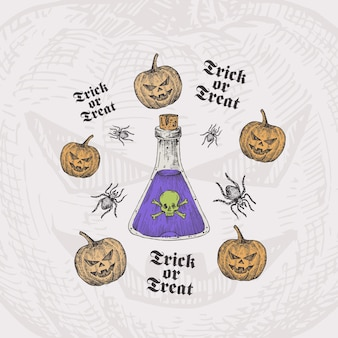 Trick or treat halloween card template with poison bottle, pumpkins and spiders