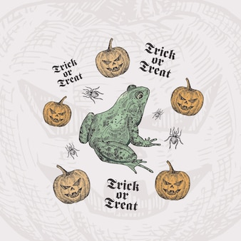 Trick or treat halloween card template with toad or frog, pumpkins and spiders
