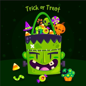 Trick or treat halloween frankenstein bag