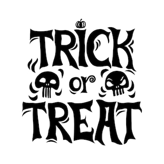 Trick or treat halloween greeting card. isolated background.