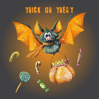 Trick or treat halloween gritting card
