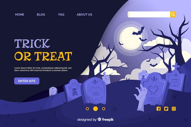 Trick or treat halloween landing page