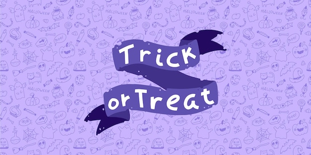 Trick or treat halloween lettering baner on doodle background seamless pattern