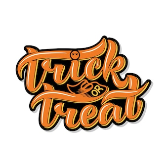 Trick or treat. halloween. lettering composition