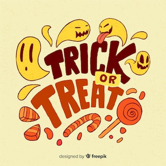 Trick or treat halloween lettering concept