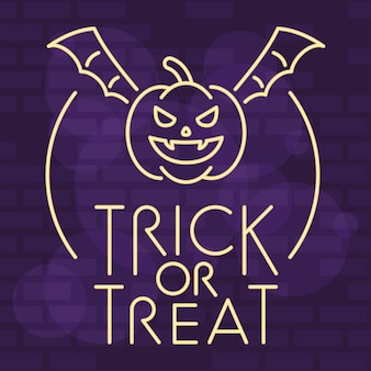 Trick or treat halloween lettering in neon light with pumpkin flying