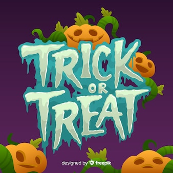 Trick or treat halloween lettering pumpkin and steams