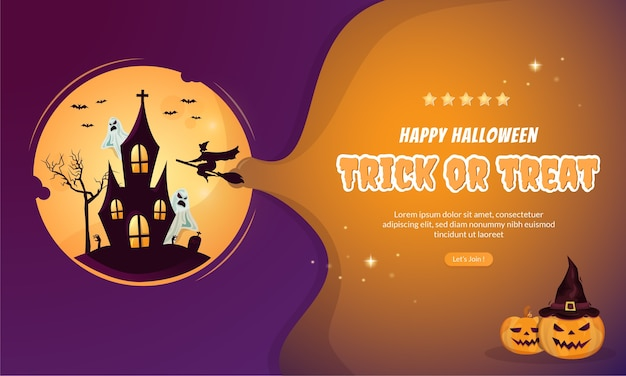 Trick or treat halloween party invitation banner concept