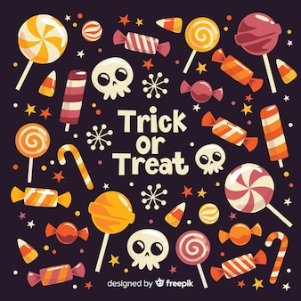 Trick or treat halloween sweets on black background