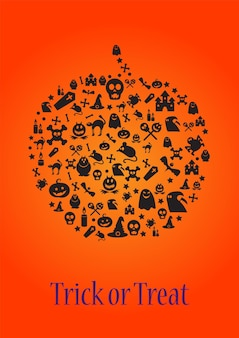 Trick or treat halloween template for card or poster design. creative banner with pumpkin shape of doodle halloween symbols. greeting card or invitation. vector illustration
