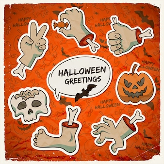 Trick or treat halloween template with paper zombie arms gestures pumpkin skull