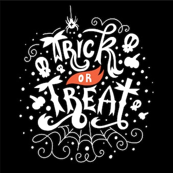 Trick or treat hallowen lettering card