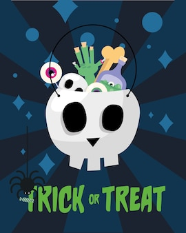 Trick or treat hand bone and poison inside skull head design, halloween scary theme