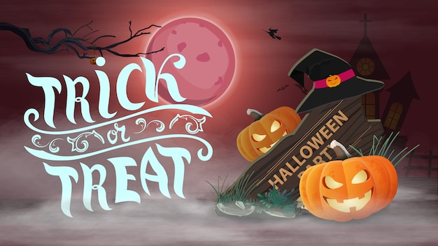 Trick or treat, horizontal postcard with night red landscape, wooden sign, witch hat and pumpkin jack