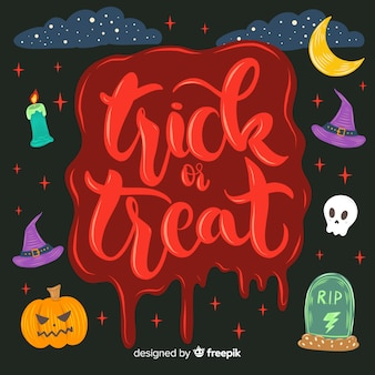 Trick or treat in a jelly red shade lettering