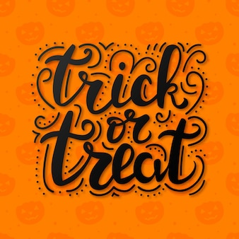 Trick or treat lettering on abstract background with pumpkins.