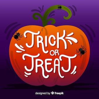 Trick or treat lettering in a pumpkin with spiders