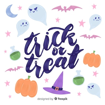 Trick or treat lettering on white background