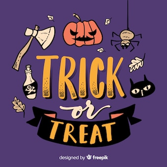 Trick or treat lettering with carved pumpkin