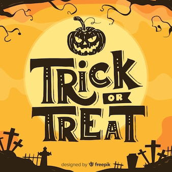 Trick or treat lettering with cemetery