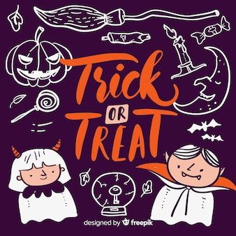Trick or treat lettering with devil and vampire