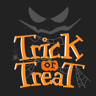 Trick or treat lettering with face