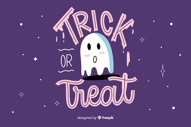 Trick or treat lettering with ghost
