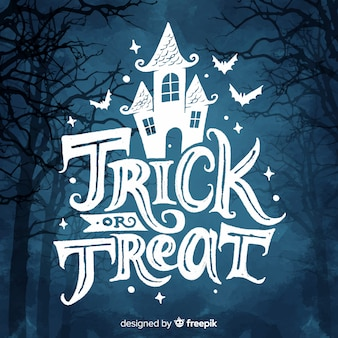 Trick or treat lettering with haunted house