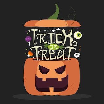 Trick or treat lettering with pumpkin