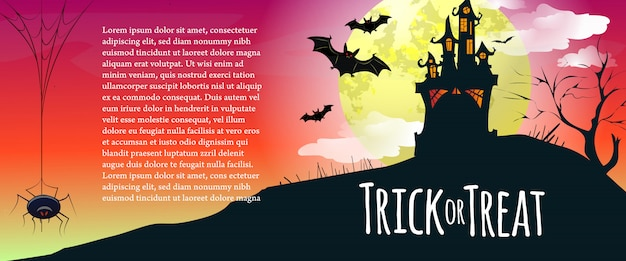 Trick or treat lettering with sample text, castle and spider